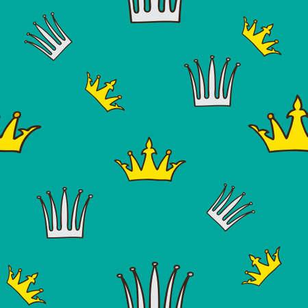 Crown pattern, hand drawn illustration Иллюстрация