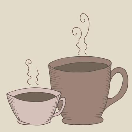 Cup of hot drink hand drawn illustration.