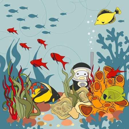 pleasure: Diving with pleasure, vector illustration