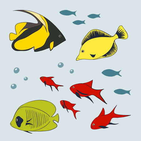 small group of objects: Set of cute fishes, illustration