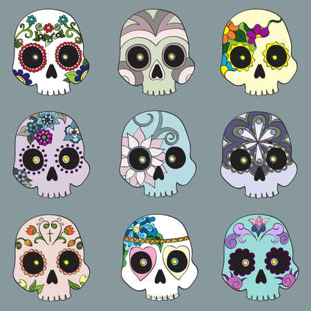 Set with mexican skulls for Day of the Dead (Dia de los Muertos) celebration, vector illustration