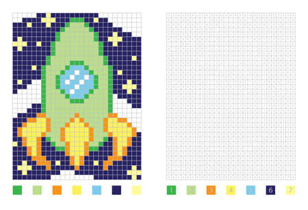 Pixel rocket in the coloring page with numbered squares, vector illustration Stock Illustratie