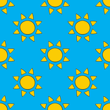 Seamless pattern with sun, vector illustration  イラスト・ベクター素材