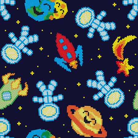 Seamless pattern with pixel space, vector illustration