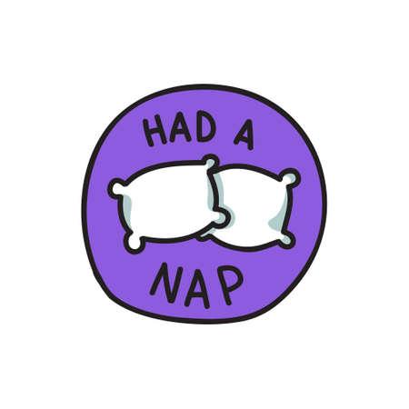 had a nap, pillows doodle icon, vector color illustration