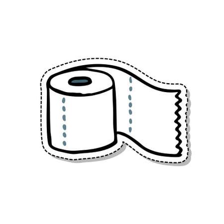 toilet paper doodle icon, vector color illustration