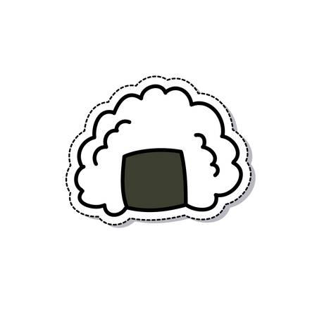 onigiri doodle icon, vector color illustration
