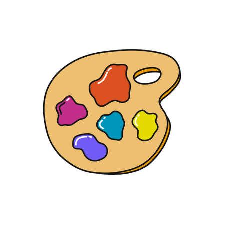 palette with paints doodle icon, vector color illustration Ilustração