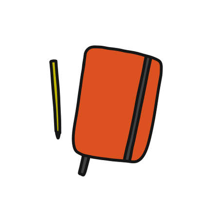 notebook doodle icon, vector color illustration