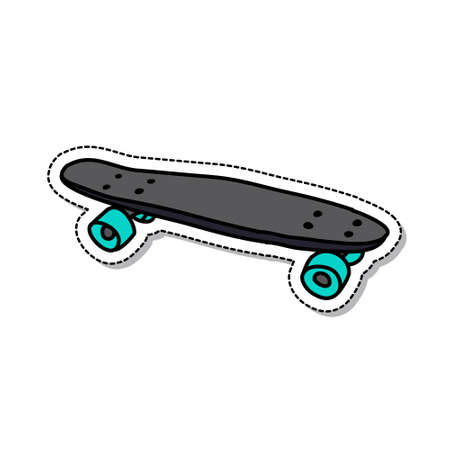 penny board doodle icon, vector color illustration