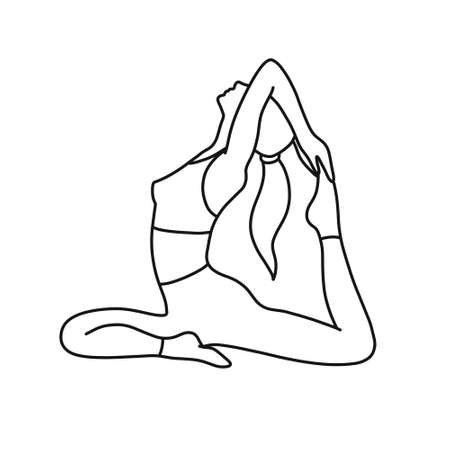 yoga girl doodle line icon, vector illustration