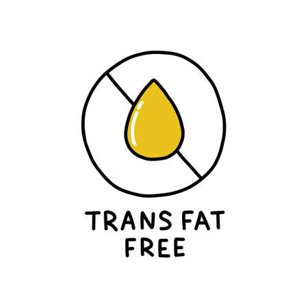 trans fat free symbol doodle icon, vector color illustration