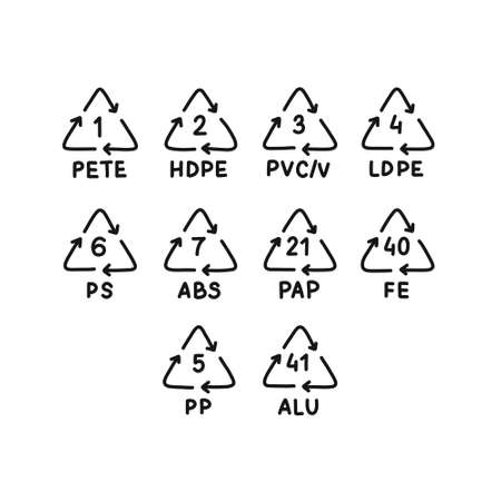 plastic types for recycling symbol doodle icon, vector color illustration