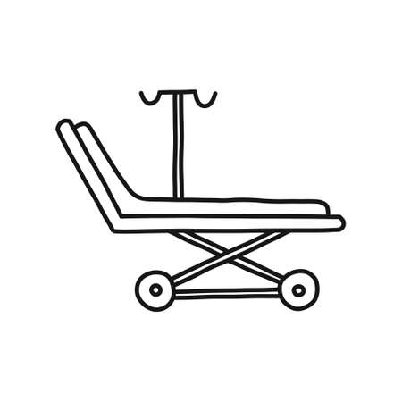 medical stretcher doodle icon, vector color illustration
