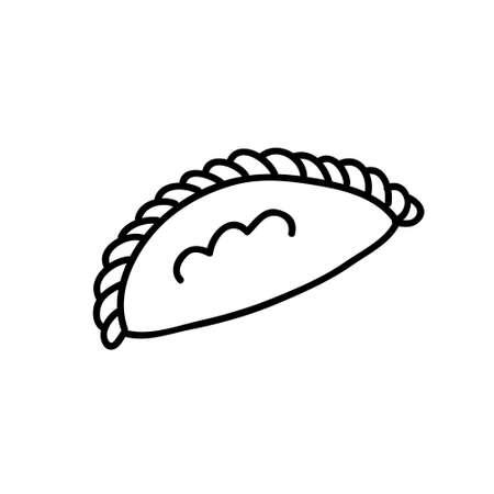 empanada doodle icon, vector line illustration
