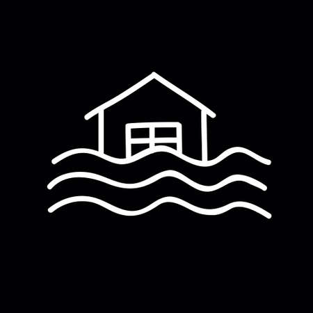 flood doodle icon, vector color illustration