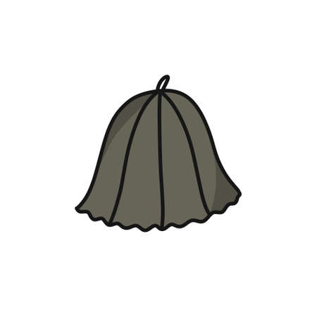 hat for the sauna doodle icon, vector color illustration