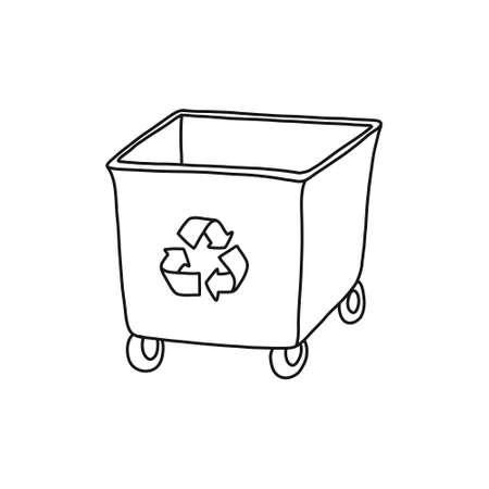 recycling garbage bin doodle icon, vector line illustration Vecteurs