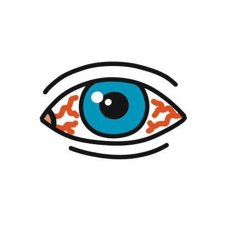 eye redness doodle icon, vector color illustration Stock Illustratie