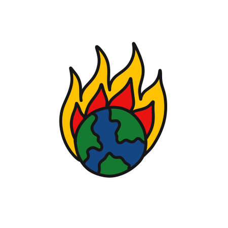 Earth on fire doodle icon, vector color illustration