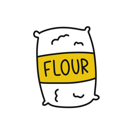 bag of flour doodle icon, vector color illustration