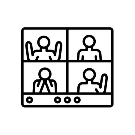 group video calling icon, vector simple illustration