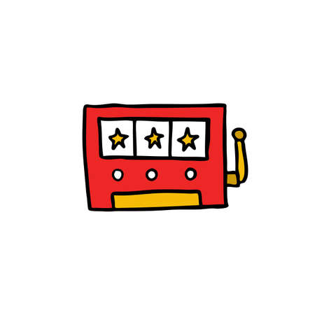 slot machine doodle icon, vector color illustration