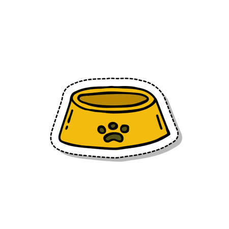 bowl for pets doodle icon, vector color illustration