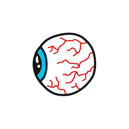 human eye doodle icon, vector color illustration Ilustração