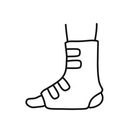 orthopedic cast doodle icon, vector line illustration Vektorové ilustrace