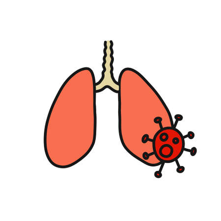 lung virus doodle icon, vector color illustration