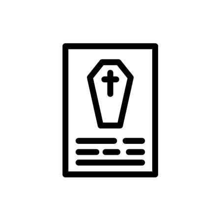 death certificate line icon, vector simple illustration