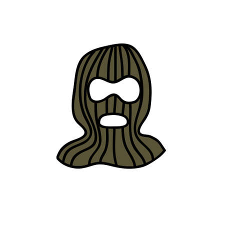 balaclava hat doodle icon, vector color illustration