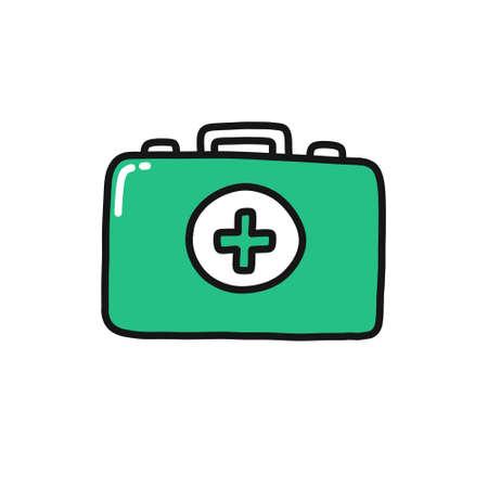 medical case doodle icon, vector color illustration