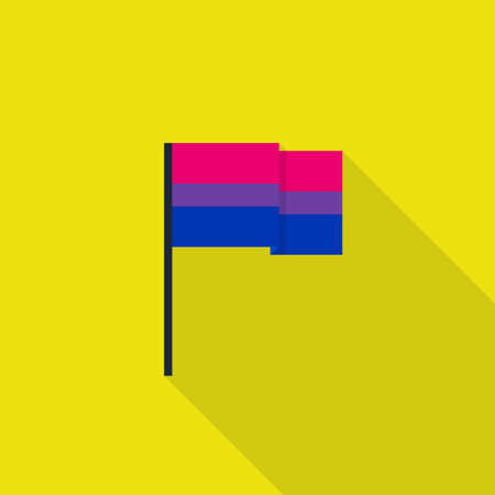 bisexual flag, LGBT community flag. flat icon, vector color illustration  イラスト・ベクター素材