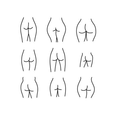 female buttocks doodle icon, vector line illustration