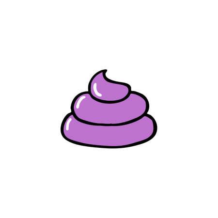 poo doodle icon color illustration