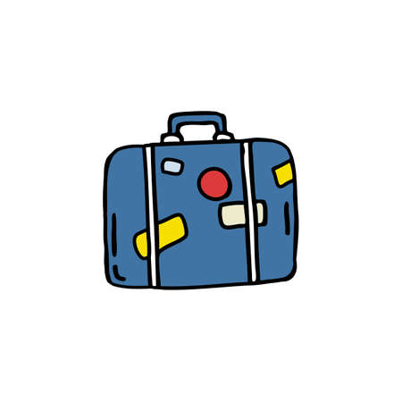 suitcase doodle color icon color illustration