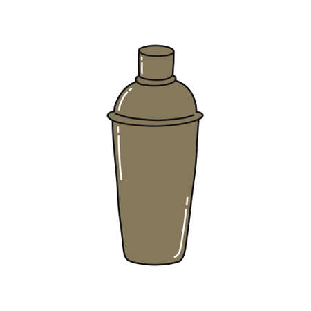 bar shaker doodle icon, vector color illustration