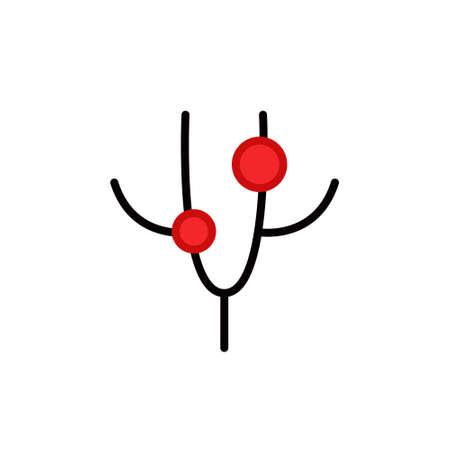 genital herpes in men line icon, vector color illustration Иллюстрация