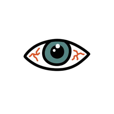 eye fatigue doodle icon, vector color illustration
