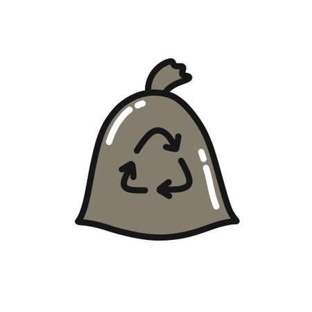 recycling garbage doodle icon, vector color illustration