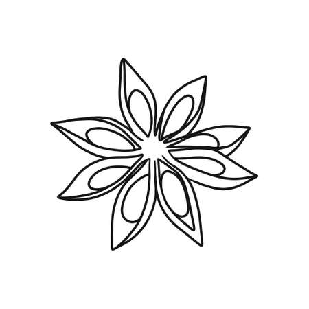star anise doodle icon, vector color illustration