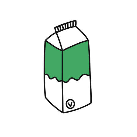 vegetable milk doodle icon, vector color illustration Ilustracja