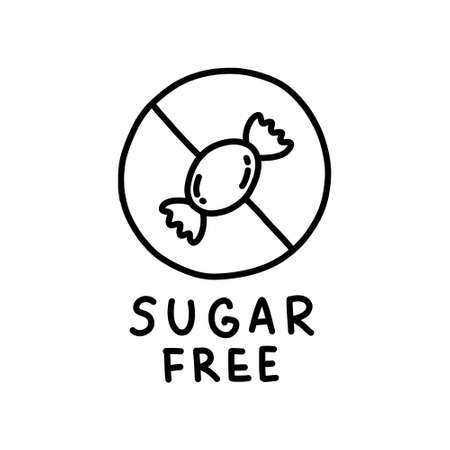 sugar free symbol doodle icon, vector line illustration