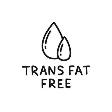 trans fat free symbol doodle icon, vector line illustration