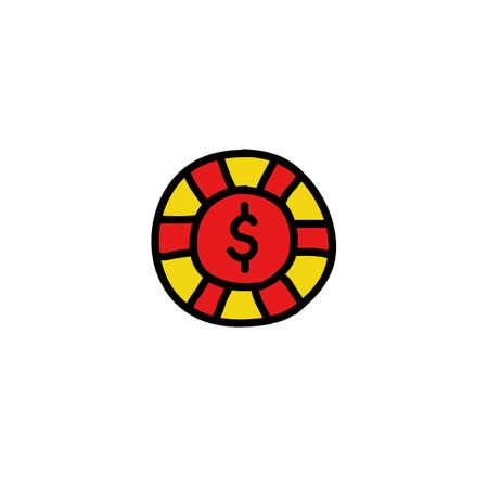 casino chip doodle icon, vector color illustration Illustration