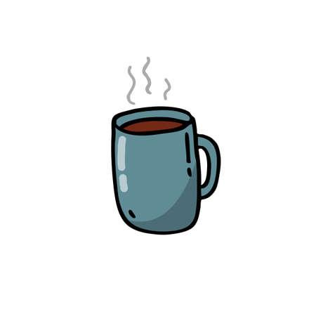 coffee cup doodle icon, vector color illustration 向量圖像