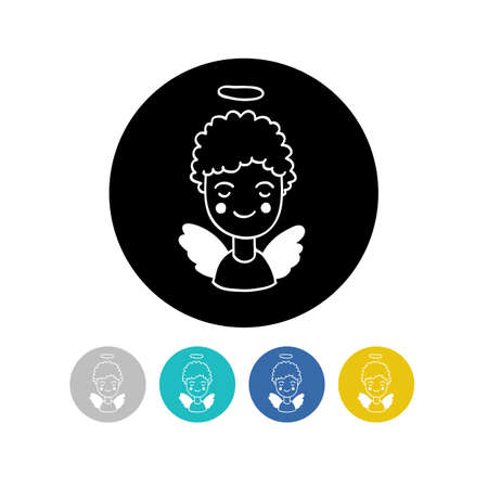 angel doodle icon, vector color illustration