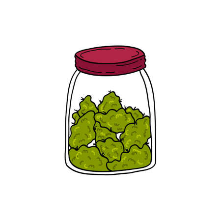 jar with marijuana buds doodle icon, vector color illustration Illustration